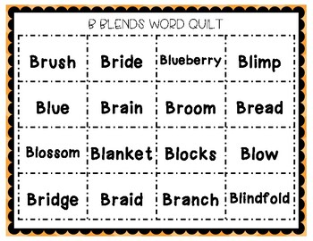 Consonant Blends Word Quilts