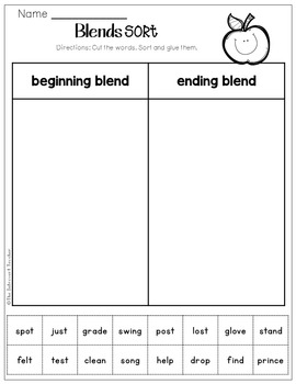 Consonant Blends: Word Sorting (Sort by Beginning & Final Blends)