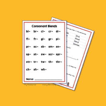 Consonant Blends: Worksheets
