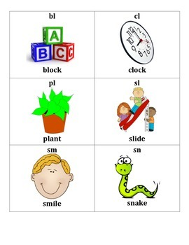 Consonant Blends and Digraphs Flash Cards