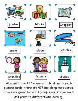 Consonant Blends and Digraphs ~ Pocket Chart Sort with Matching Word Cards