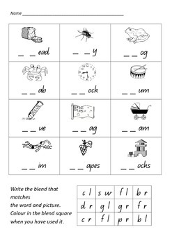 Consonant Blends - ccvc colour and write