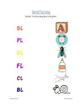 Consonant Blends: fl, cl, bl, sl, pl, and gl packet