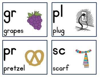 Consonant Blends/Consonant Clusters Cards- FREEBIE