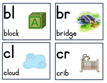 Consonant Blends/Consonant Clusters Cards- FREEBIE