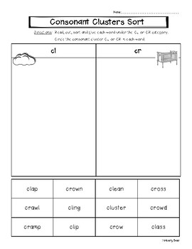 Consonant Cluster CL and CR Picture and Word Sorting Worksheets