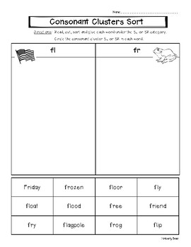 Consonant Cluster FL and FR Picture and Word Sorting Worksheets