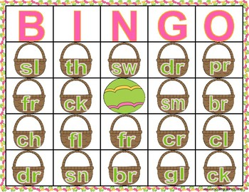 Consonant Cluster and Consonant Digraph Easter Jelly bean Bingo