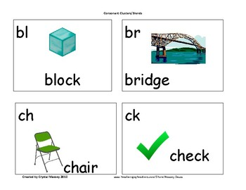 Consonant Clusters/Blends Cards