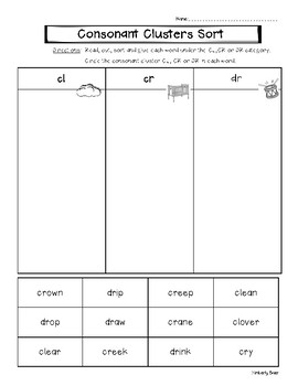 Consonant Clusters CL, CR and DR Picture and Word Sorting Worksheets