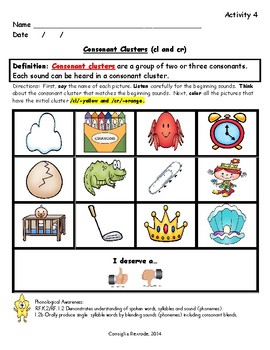 Consonant Blends/Consonant Clusters L and R