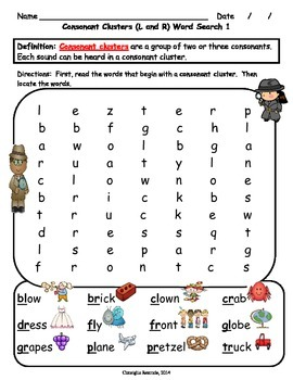 Consonant Blends/Consonant Clusters L and R Word Searches (Freebie)