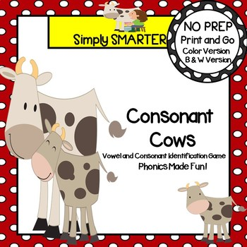 Consonant Cows:  NO PREP Farm Themed Vowel and Consonant Identification Game