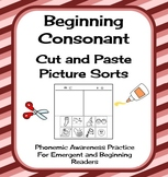 Consonant Cut and Paste Picture Sorts - Phonics / Phonemic Awareness Worksheets