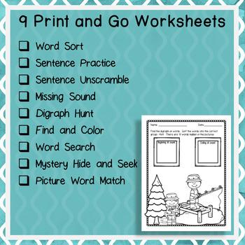Consonant Digraph SH Word Work Packet