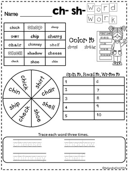 Consonant Digraphs and Blends Word Work