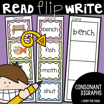 Consonant Digraph Activity Cards  Read Flip Write Literacy Center