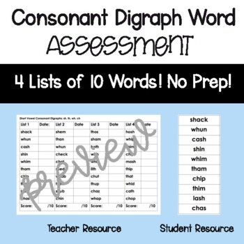 Consonant Digraph Assessment- sh, th, wh, ch