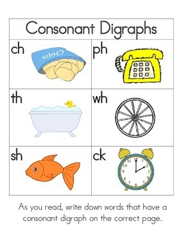 Consonant Digraph Book for Centers