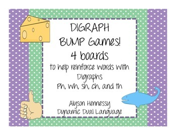 Consonant Digraph Bump Games! (ph, sh, ch, th, and wh)