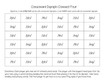 Consonant Digraph Connect Four Game