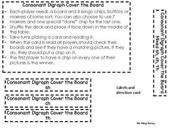 Consonant Digraph Cover the Board Game