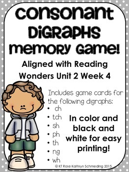 Consonant Digraph Memory Game---Aligned with Reading Wonde