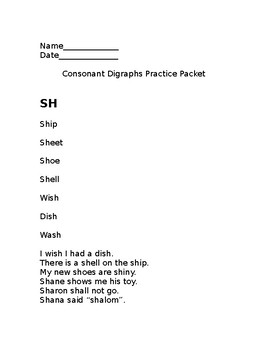 Consonant Digraph Practice Packet