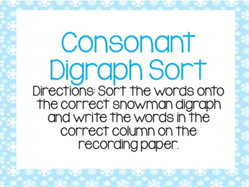 Consonant Digraph Snowmen Center