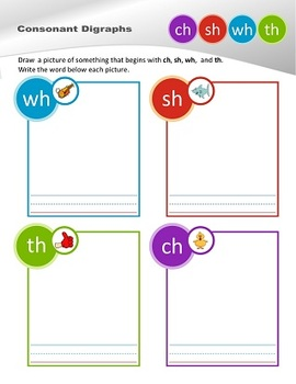 Consonant Digraph Sorting Sheets       (ch, sh, wh, th)