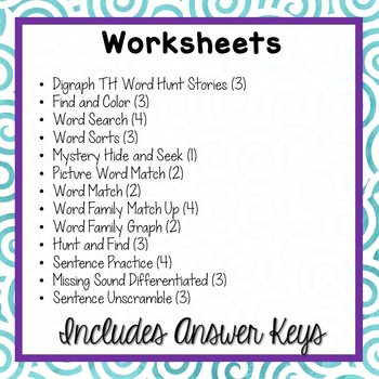 Consonant Digraph TH Word Work Packet