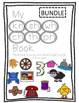"Consonant Digraph book - BUNDLE (including ""th"", ""ph"", ""kn"", ""sh"", ""wh"", ""ch"")"