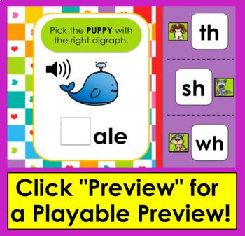 Consonant Digraphs - 20 Interactive Self-Chcking Digital Task Cards- Boom Cards™
