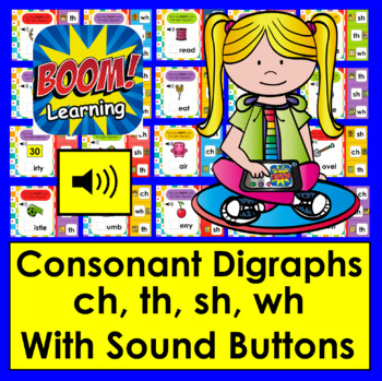 Boom Cards™ Consonant Digraphs - 20 Interactive Self-Chcking Digital Task Cards