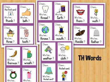 Consonant Digraphs I Have, Who Has Games Set of 5