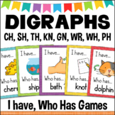 Consonant DIGRAPHS Games Set of 5 CH SH TH PH WH GN KN WR I Have, Who Has
