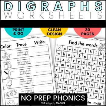 NO PREP Digraphs Word Work BUNDLE {CK, CH, SH, TH, & WH}