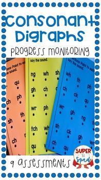 Consonant Digraphs Progress Monitoring (9 Assessments)