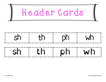 Consonant Digraphs Word Sort {Differentiated} + Seat work