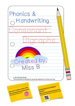 Consonant Digraphs Work Booklet