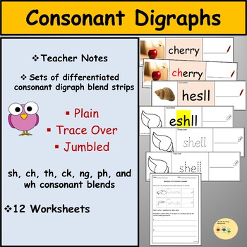 Consonant Digraphs Task Cards Worksheets and Activities