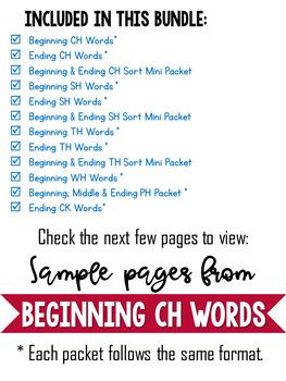 Consonant Digraphs sh th wh ch ph Beginning Digraphs Worksheets -Ending Digraphs