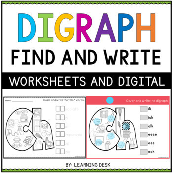 Consonant Digraphs Worksheets and Activities for first graders BUNDLE