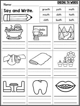 Consonant Digraphs Worksheets ch, sh, th, ph, wh, qu ...
