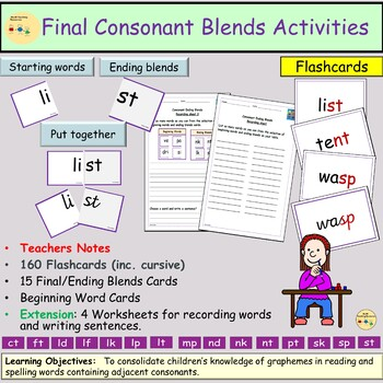 Consonant Ending Blends/Clusters, Flashcards, Activities, Teacher Notes