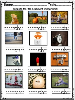 Consonant Ending -tch - Word Work! No Prep! Includes Real Pictures!