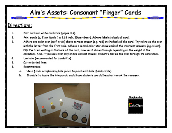 Consonant Finger Cards