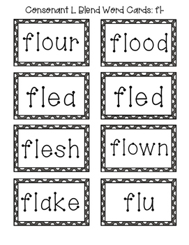Consonant L-Blend Word Cards & Activities