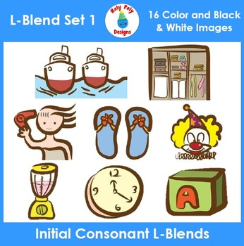 L-Blends Phonics Clip Art Set 1