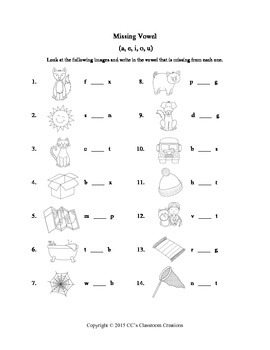 Consonant Letters and Vowels Worksheets